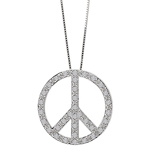 10k White Gold & Natural Diamond Peace-Sign Pendant (0.33ctw)