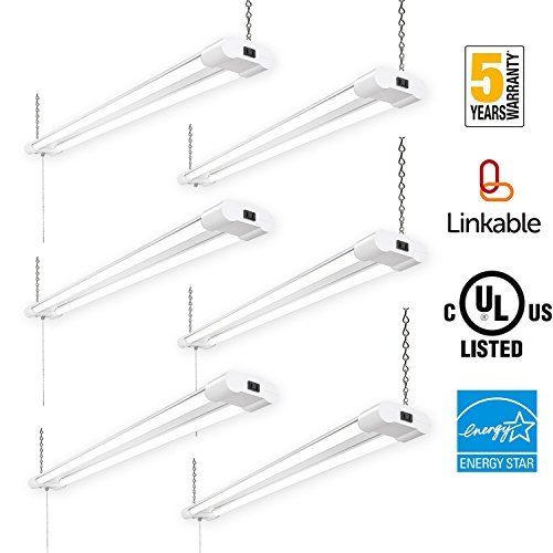 Amico 40W 4000LM 4FT Linkable LED Utility Shop Lights for Garage,Double Integrated LED Fixture UL and Energy Star,5000K Daylight, 100W Fluorescent Eq. Hanging light with Pull Chain Switch (6 Pack)