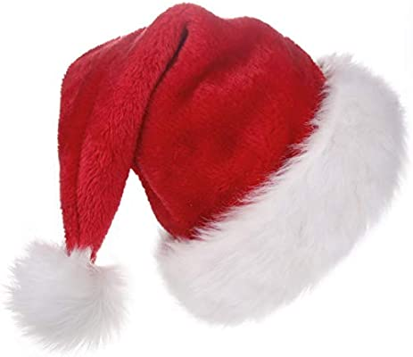 216bbe2f51e0f BALORAY Santa Hat for Adults Big Santa Hat Comfort Double Liner Plush Red  Velvet