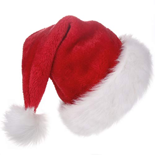 BALORAY Santa Hat for Adults Big Santa Hat Comfort Double Liner Plush Red -