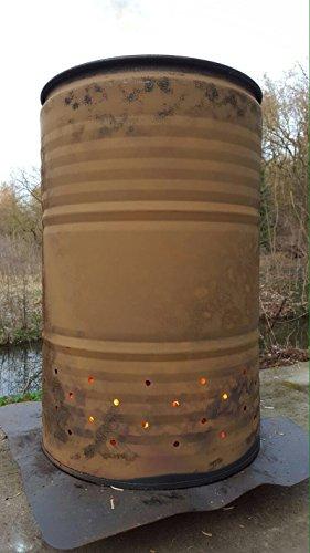 200 Liter Metallfass Feuertonne mit vorgefertigter Bohrung für sofortigen Einsatz Tonne Brenntonne Blechfass Ghettotonne Schwedenfeuer Brennofen
