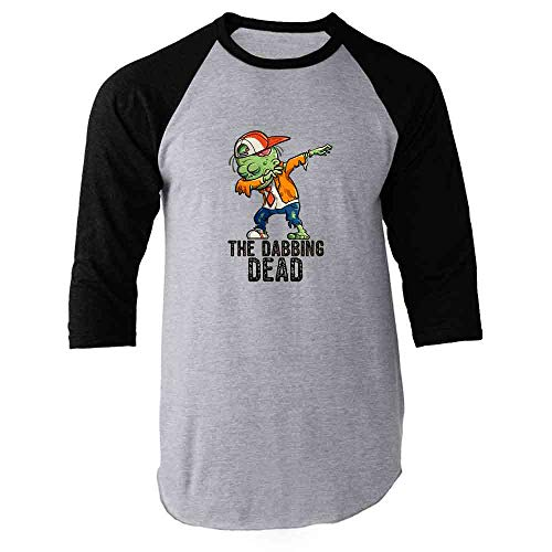 Pop Threads The Dabbing Dead Zombie Halloween Funny Black M Raglan Baseball Tee Shirt ()