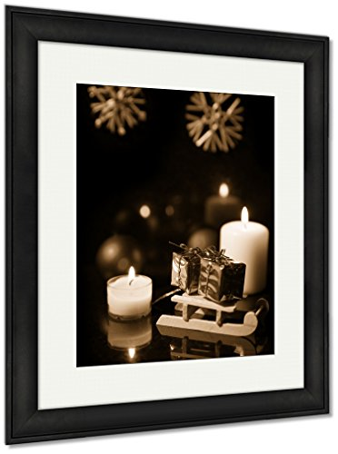 Ashley Framed Prints Sledge And Presents Baubles, Wall Art Home Decoration, Sepia, 30x26 (frame size), Black Frame, AG6607450 (Seasonal Catalog Decorations)