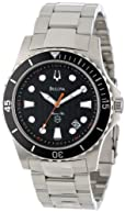 Bulova Men's 98B131 Marine Star Black Dial Bracelet Watch
