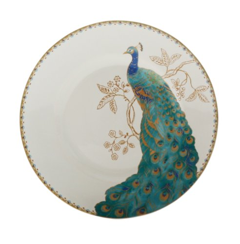 222 Fifth Peacock Garden Salad Plate, White, Set of 4 ()