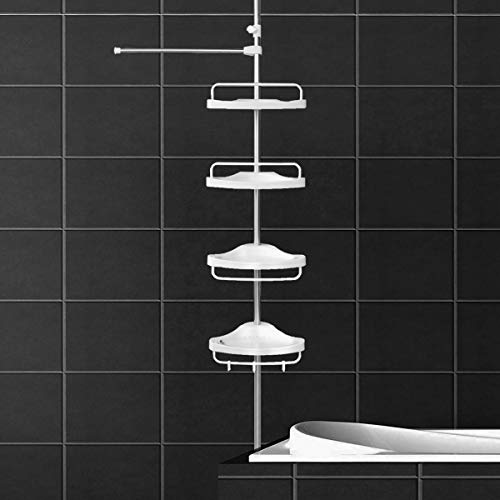 JY Corner Shower Caddy, Constant Tension Pole, Rustproof Stainless Steel, Height Adjustable, Ivory White