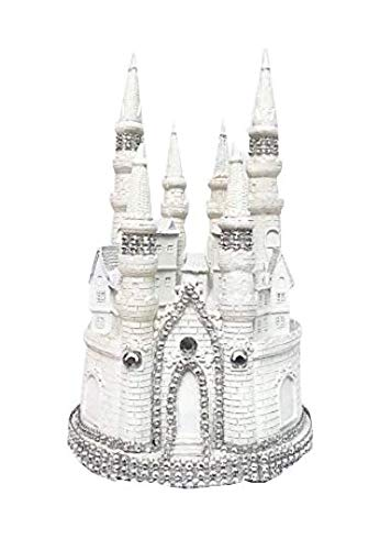 White Fairytale Castle Cake Top Cake Topper Decorated Centerpiece for Birthday Cake Topper or Wedding Cake Topper or Sweet 16 Cake Topper or Mis Quince Cake Topper