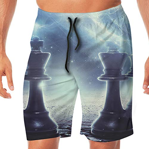 (Quick Dry Men's Beach Shorts Chess Print Swim Trunks Surf Board Pants Pockets L White )