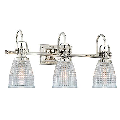 Langdon Mills 10226 Oakley 3-Light Bathroom Vanity Light, Polished Nickel