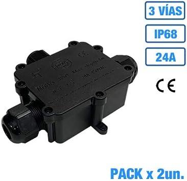 Caja estanca de empalme IP68 con regleta de conexión 24A (2, 3 Vías): Amazon.es: Bricolaje y herramientas