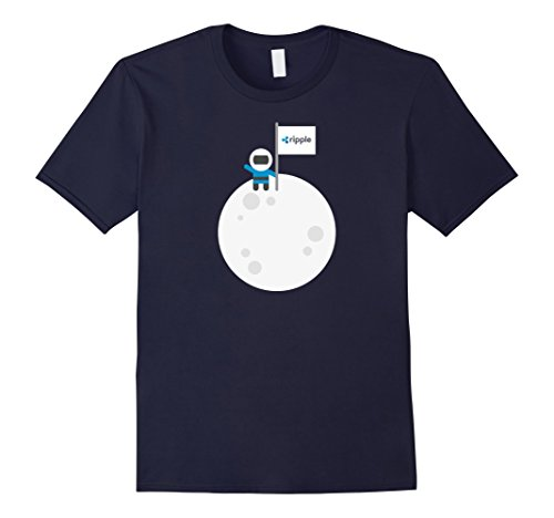 Mens Ripple To The Moon! | Astronaut Graphic XRP Flag T-Shirt Large Navy