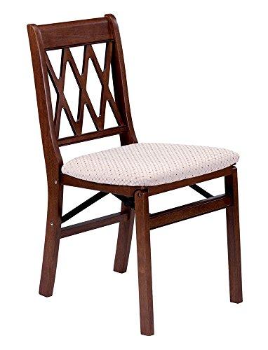 Lattice Back Folding Chair in Warm Cherry Finish - Set of 2
