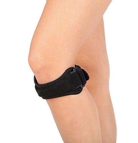 Knee Pain Relief, Patella Stabilizer Knee Strap Brace Support for Hiking, Soccer, Basketball, Running, Jumpers Knee, Tennis, Volleyball & Squats, Black