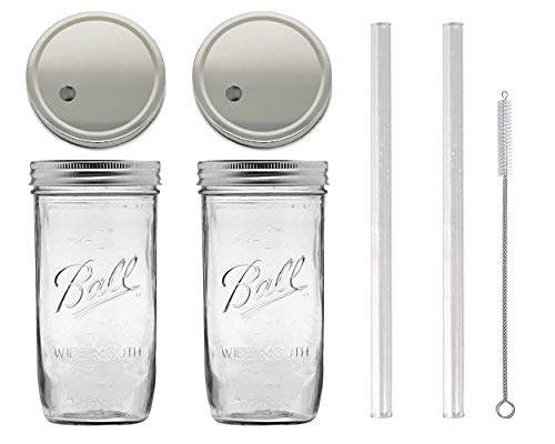 (2) 24 oz Wide Mouth Glass Mason Drinking Jars with 2 Silver Lids, 2 Glass Straws (10