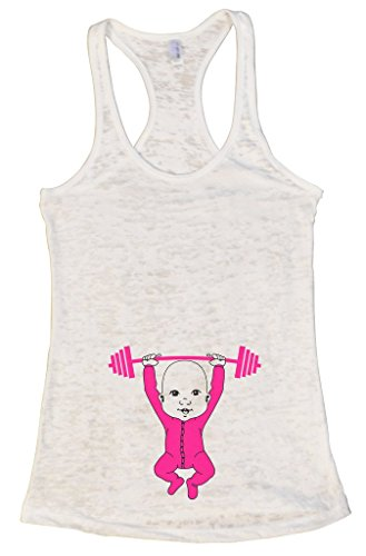 "Women's Early Pregnancy Tank Top ""Baby Working Out"" Maternity Shirt - Funny Threadz Small, White"