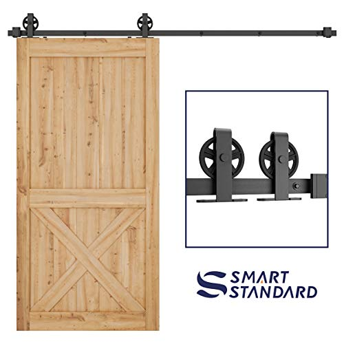 SMARTSTANDARD 8ft Heavy Duty Sturdy Sliding Barn Door Hardware Kit-Smoothly and Quietly-Easy to Install-Includes Step-by-Step Installation Instruction Fit 48