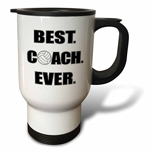 3dRose tm_195231_1 Volleyball Best Coach Ever Travel Mug, 14-Ounce, Stainless Steel