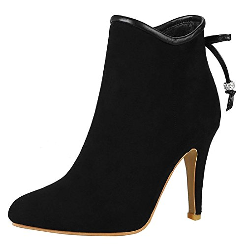 Zip Shoes Vitalo Booties Ankle Pointed Heel up Stiletto Boots Ladies Women's Black High qqapf8