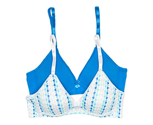 Trimfit Girls' Lightly Lined Wirefree Cotton Bra (Pack of 2), Diagonal Hearts/Blue, 34A