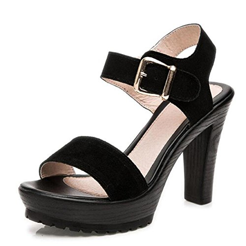 Girls L@YC Women Sandals Summer Matte Leather Thick Thick High With Waterproof Table Shoes Black , black , 43