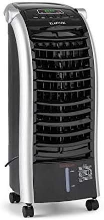 KLARSTEIN Maxfresh Ice Black 3 en 1 - Enfriador de Aire, Ventilador y Humidificador, 3 Funciones, Portátil Panel de Control LED, 65 W, Tanque de 6 litros, Bolsa de Hielo, Control Remoto, Negro