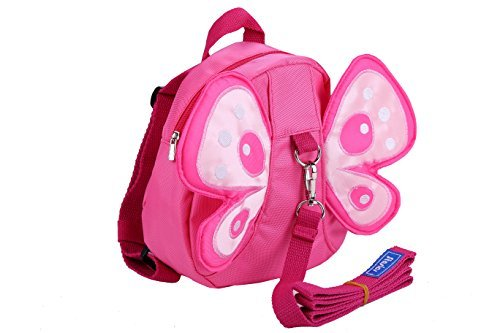 Toddler Backpack with Attachable Safety Harness,Cute Pink Butterfly Book Bag,Child Runaway Restraint,Loop for Parents to Hold, Public Places Kid Keeper
