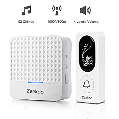 Wireless Doorbell with Night Light,Waterproof Door Bell chime Kit,Battery Operated Push Button - 1000ft Range, 52 Chimes, 4 Volume Levels,1 Receiver & 1 Transmitter For Home,Garden By Zeekoo