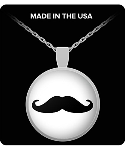 [Mustache Charm Necklace - Square/Round Pendant] (Deluxe Smoke Mask)