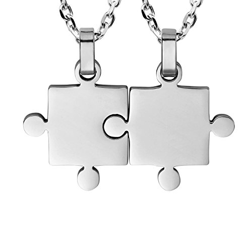 Godyce Couples Gifts Necklace 2 Piece Puzzle - Best Friends Women Men Stainless Steel Pendant Silver Jewelry