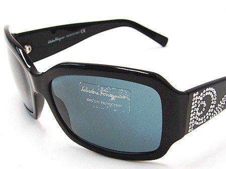 1d5558fd194 New Salvatore Ferragamo 2106-B 2106B 101 87 Swarovski Crystals Sunglasses  Black Frame Gray Lens Size  61-16-130  Amazon.co.uk  Clothing