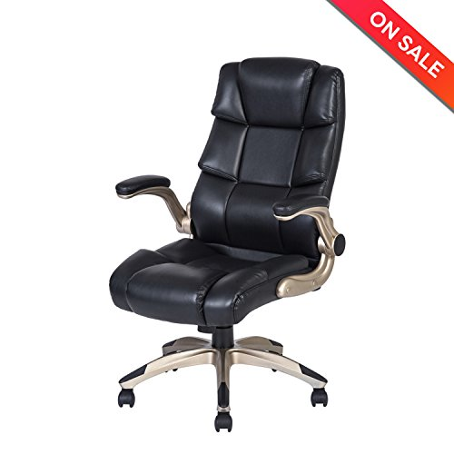 LCH Ergonomic High Back Leather Office Chair - Adjustable Padded Flip-Up Arms Executive Computer Desk Chair by HLC