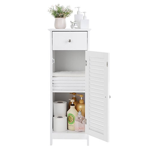 SONGMICS Bathroom Floor Cabinet Storage Organizer Set with Drawer and Single Shutter Door Wooden White UBBC43WT by SONGMICS (Image #3)