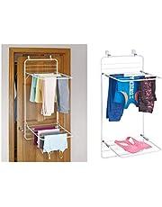 iDesign 39743EU Brezio torkställ för att hänga över dörren för tvätt, dubbelhylla, 30,48 x 1,91 x 11,43 cm, vit/grå, metall