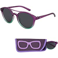 Sunglasses for Children – Smoked Lenses for Kids - Reduces Glare, 100% UV Protection - Shiny Crystal Frame - Matching Pouch - Ages 3 to 12 - By Optix 55