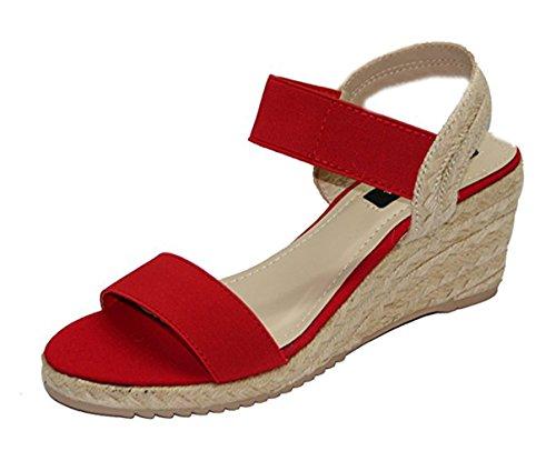 STEKOST - Zapatos de Punta Descubierta Mujer Rojo