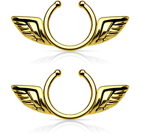 Angel Wings Non-Pierce No Pierce Fake Clip On Nipple Ring - Sold as a Pair (Gold Tone) -