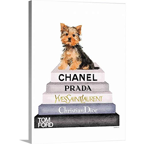 GREATBIGCANVAS Gallery-Wrapped Canvas Entitled Bookstack Yorkie by Amanda Greenwood ()
