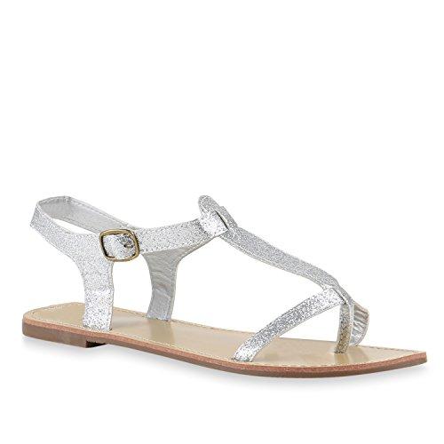 Stiefelparadies Damen Sandalen Fransen Glitzer Schuhe Quasten Metallic Flats Schnallen Riemchensandalen Damenschuhe Velours Flandell Silber Glanz