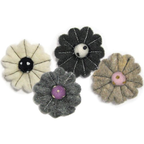 Dimensions Needlecraft Felt Embellishments, Neutral Flower Mix Felt Wool Embellishments