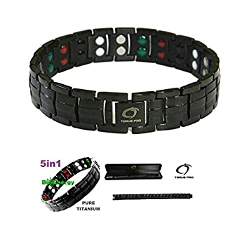 7fc626f4eb9 Noir Double Force Bracelet magnétique en titane pour homme + Plus Boîte  cadeau en velours -