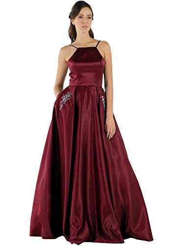 Women's Spaghetti Strap Halter A Line Beaded Long Satin Evening Prom Dress with Pockets Burgundy Size 6