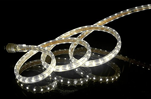 CBConcept UL Listed, 10 Feet, Super Bright 2700 Lumen, 4000K Soft White, Dimmable, 110-120V AC Flexible Flat LED Strip Rope Light, 180 Units 5050 SMD LEDs, Indoor/Outdoor Use, [Ready to use]