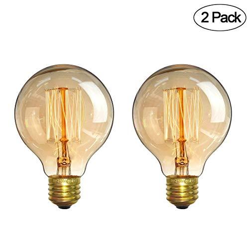 Vintage Edison Bulbs,Elfeland Antique Retro Incandescent Light Bulb 40W Squirrel Cage Filament Light Bulb G80 Classic Amber Glass E26/E27 Medium Base Dimmable (2 Pack)