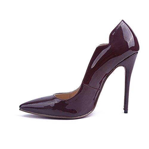 Minitoo Ladies MA04127 Fashion Patent Leather Slender Classic Dress Pumps Wine Red vXdlP