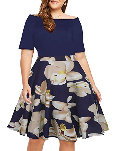 Women's Off The Shoulder Fit and Flare Plus Size Swing Dress with Pockets (Dark Blue, 18Plus)