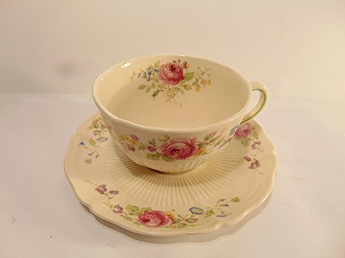 Antique Teacups And Saucers (Royal Doulton CURNOCK ROSE Antique Bone China Coffee Tea Cup and Saucer Set)