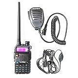 BaoFeng UV-5R Dual Band Handheld Two Way Radio Rechargeable Ham Walkie Talkie with Free Earpiece & Speaker Mic