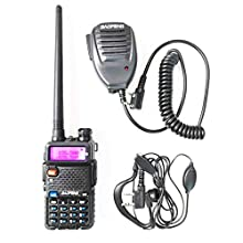 BaoFeng UV-5R Dual Band Handheld Two Way Radio Rechargeable Ham Walkie Talkie with Free Earpiece & Speaker Mic