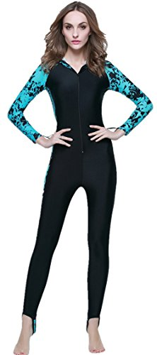 LANBAOSI Women's Wetsuits Full Body Sports Skins Sea Surf With Hooded X-Large Blue1