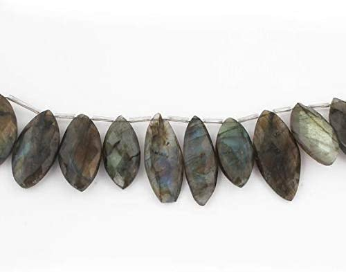 Beads Bazar Natural Beautiful jewellery Big Halloween 1 Strand New Rare Front Flash Labradorite Faceted Briolettes - Big Marquise Shape Beads 29mmx14mm-36mmx16mm 8 inches SB24Code:- NY-11422